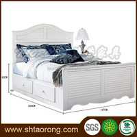 Modern white single solid wood bed with drawers