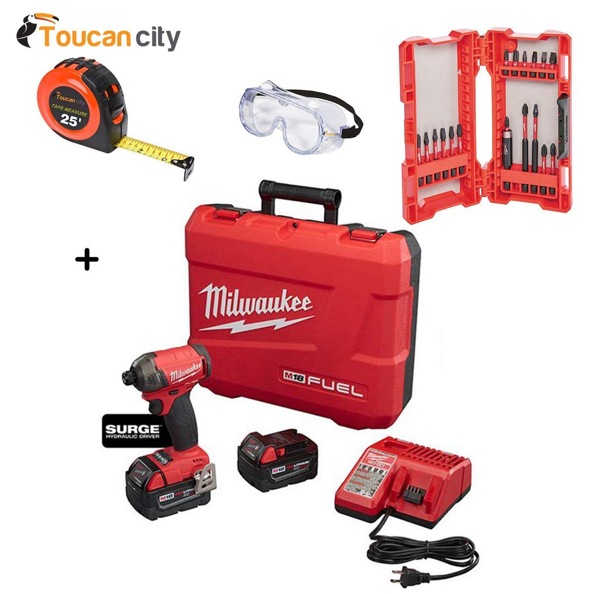 Milwaukee M18 FUEL 18-Volt Lithium-Ion Brushless Cordless 1/4 in. Hex Hydraulic Impact Driver Kit W/ Shockwave Bit Set (18-Piece) 2760-22-48-32-4403 and Toucan City Tape Measure and Safety Goggles