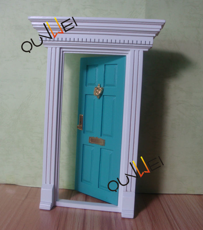 Whole Price Wooden Mini Door Fairy Colorful Miniature Blue Qw60203