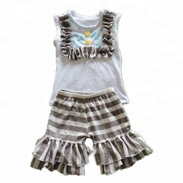 2018 wholesale baby button vest top and bell-bottoms ruffle shorts girls outfit cotton soft 2pcs clothes set