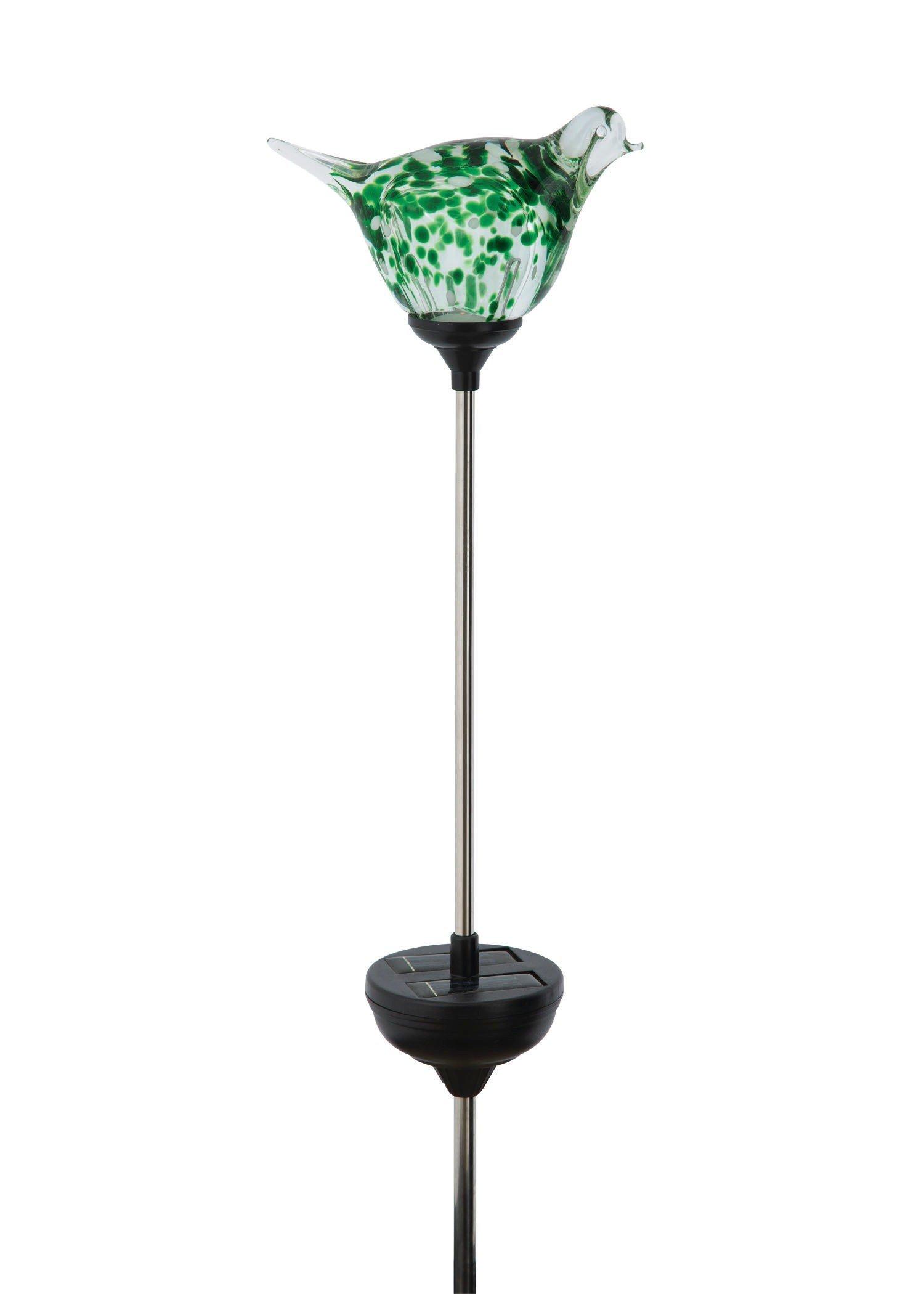 Russco III GS135476 Solar Powered LED Glass Bird Garden Stake, Green