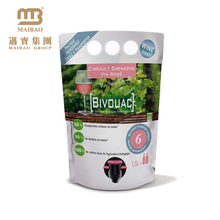 Wholesale Custom Biodegradable Aluminum Foil Vacuum Red Wine Liquor Pouch Packaging Liquid Plastic Bags With Spout Tap