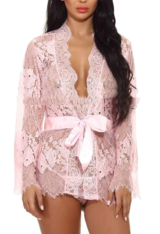 cfc76a53b8f Buy uninukoo-women clothes Unko Women Lingerie Kimono Robe Eyelash Lace  Sheer Nightwear Babydoll in Cheap Price on m.alibaba.com