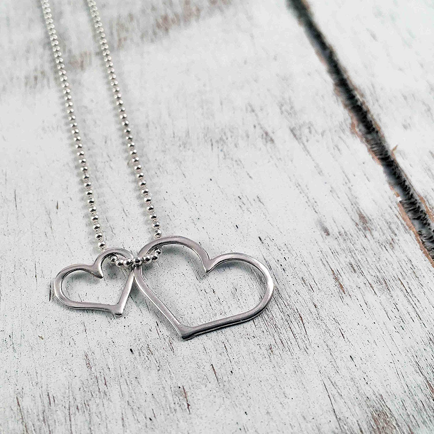 "Double Open Heart Pendant Charm Necklace, Sterling Silver 925 Polished Finish, Chain 17.5"" long, Handmade in Peru by Claudia Lira. Two Hearts. Great for Gift Sets"
