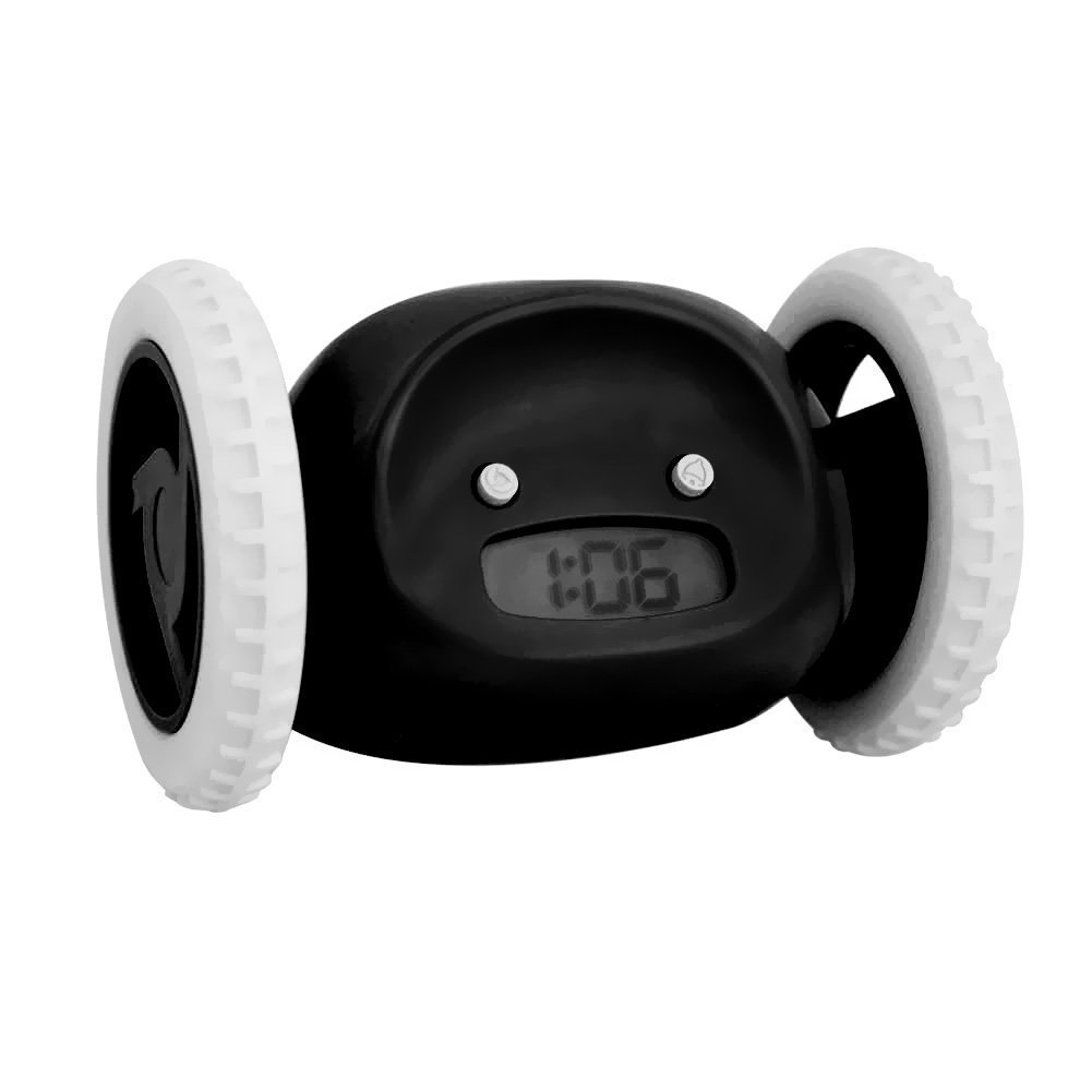 Alert Loud Alarm Clock Hide and Seek Runaway Alarm Clock Two Wheels Funny and Cute Alarm Clock for Lazy People(black)