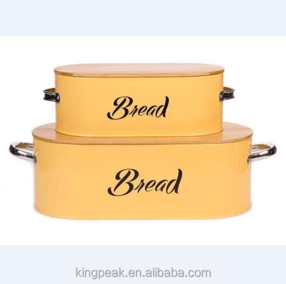 2019 Best Selling Bread Box Bread Bin Storage Container/Butter Dish - Enamel Butter Boat /Bread box with chopping board lid