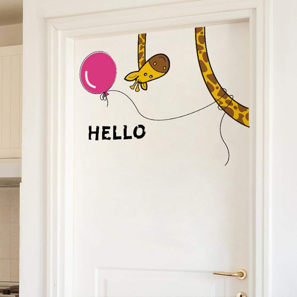 "BIBITIME Living Room Porch Back Door Hello Giraffe Wall Decal Sayings Hello Sign Balloon Sticker for Nursery Bedroom Kids Room Decor DIY 26.77"" x 22.83"""