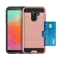 New Models Hot Sell Credit Card Holder Mobile Phone Brushed Metal Case For Samsung Galaxy J8