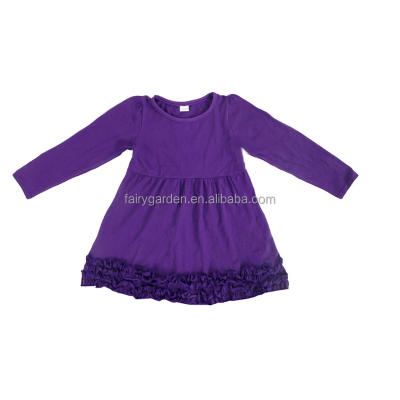 Wholesale Children Baby Girl frock Design Icing Knit cotton dress long icing Ruffle Sleeve clothing fall infant kids dress