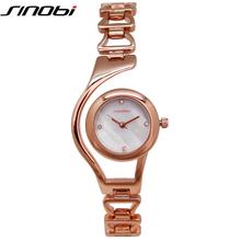 Pulseira de Relógio de SINOBI Mulheres Hardlex Relógio de Pulso para Mulheres Rosa de Ouro Senhoras Relógios Montre Femme Elegante Relogio feminino Relogio Pulseira Feminino