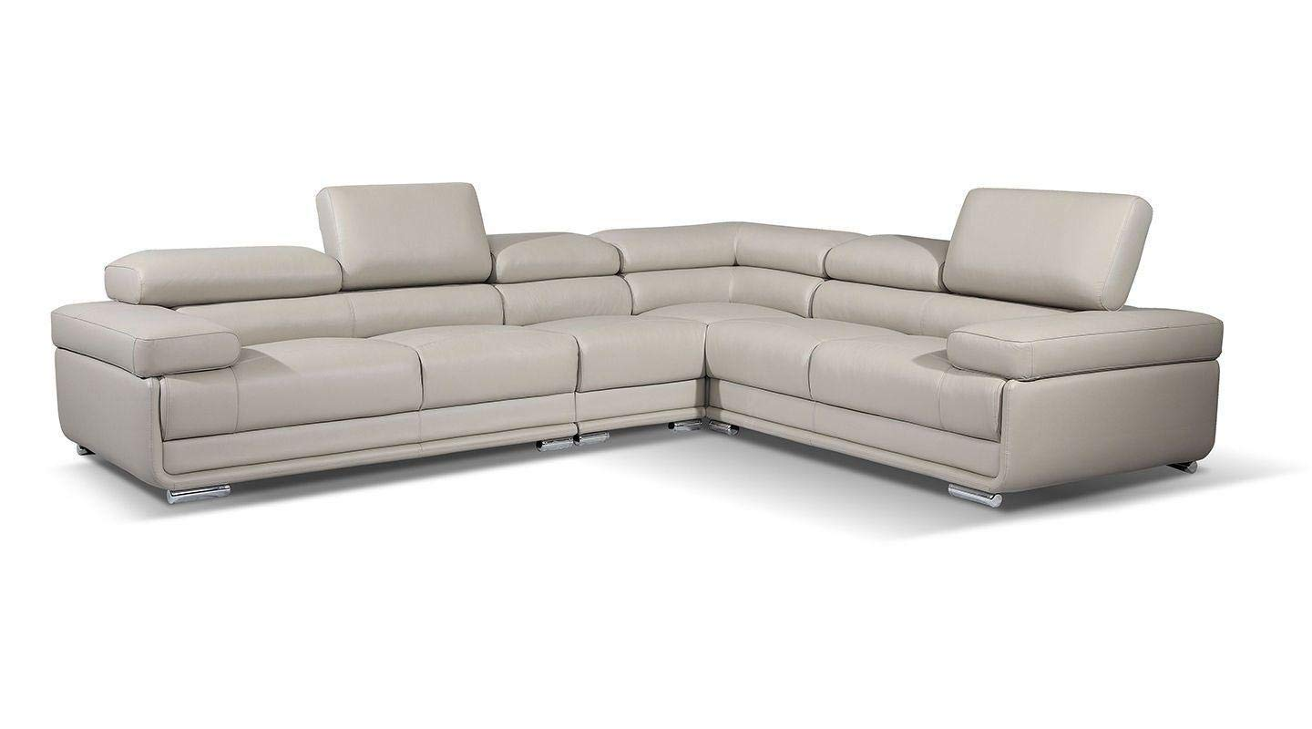 ESF Furniture 2119 Leather Right Hand Facing Sectional Sofa in Light Grey