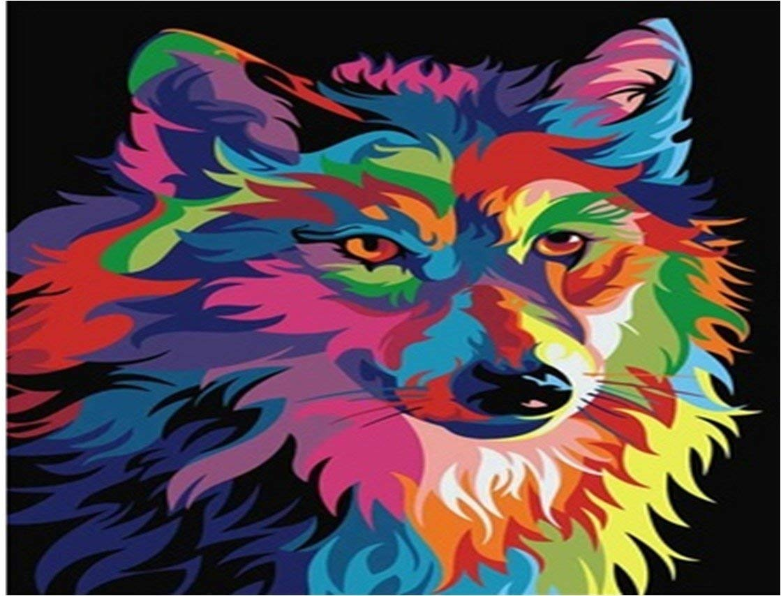 DIY Full Area Round 5D Diamond Painting, Handmade Paste Painting Resin Cross Stitch Kit Home Décor Wall Decoration Painted Wolf 16X12inch/40X30CM