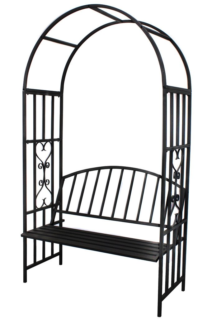 """1.GO Steel Garden Arch with Seat for 2 People, 6'7"""" High x 3'7"""" Wide, Garden Arbor for Various Climbing Plant, Outdoor Garden Lawn Backyard"""