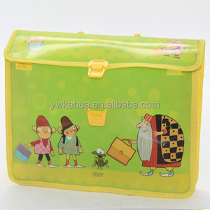 Custom cartoon design durable file folder office & school stationary plastic file bag A4 PP clip document bag folder wholesale