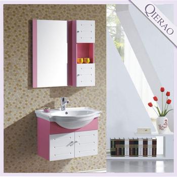Qierao LD 25 60 60CM Italian Cheap Modern Pink Wall Hung PVC Bathroom Vanity Part 89