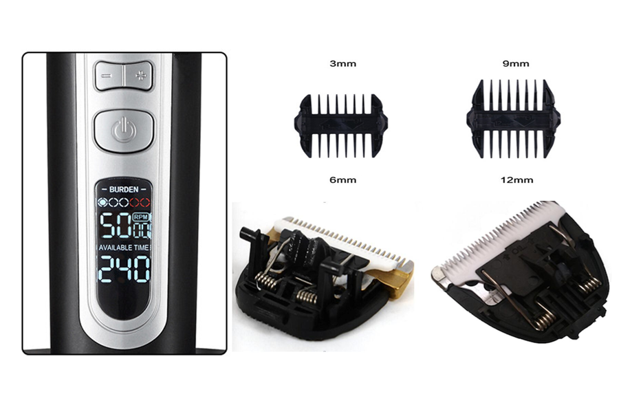 Best Rechargeable Ceramic cutter head LCD  hair clipper with 2 spare cutter heads