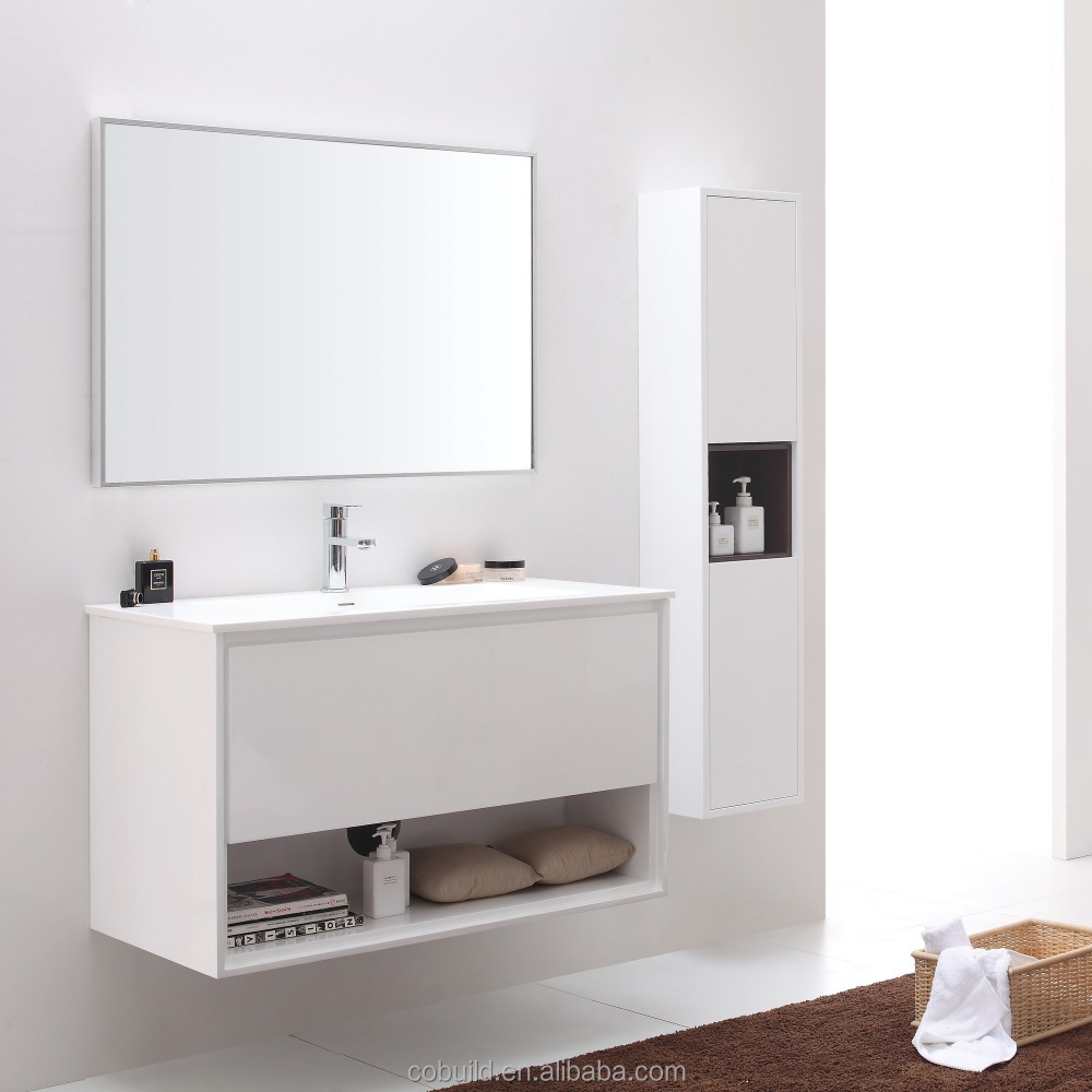 Lux 001a Modern White Wood Side Cabinet And Mirror Cabinet Wall Mounted Bathroom Cabinet Single Sink Bath Vanity View Bathroom Cabinet Cobuild Product Details From Foshan Cobuild Industry Co Ltd On Alibaba Com