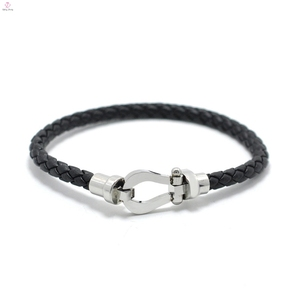 Magnetic Clasp Weave Clasp Bracelet Leather Bangle