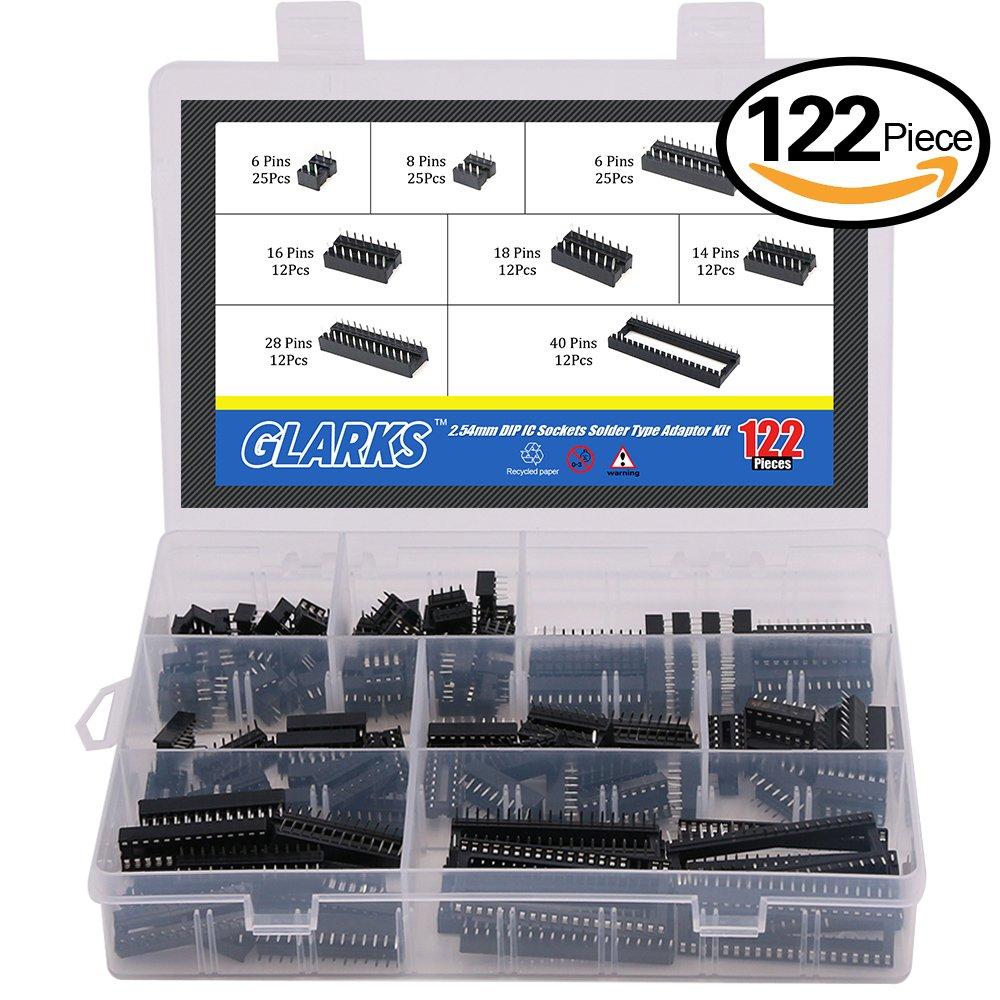 Glarks 122Pcs 2.54mm Pitch DIP IC Sockets Solder Type Adaptor Assortment Kit (6/8/14/16/18/24/28/40 Pins)