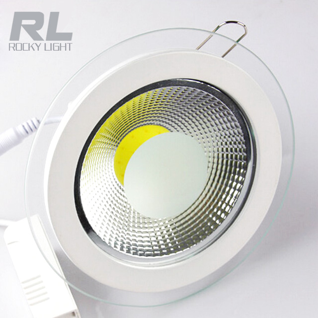 5w 10w 15w recessed round and square cob led glass panel light