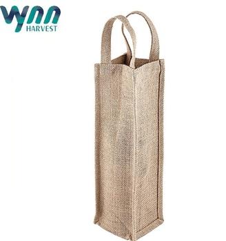 Reusable Jute Burlap Wine Bag Carrier Tote