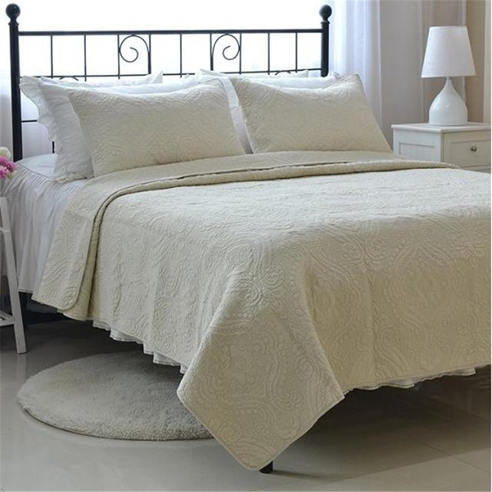 Auvoau Home Textiles Bedding Cotton Quilt Patchwork Bedspreads American Embroidered Bedspreads 3PC Queen Size (Queen, 1)