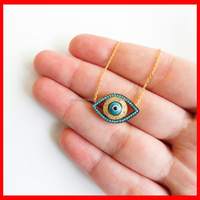 18k yellow gold plated 925 silver women cz evil eye necklace
