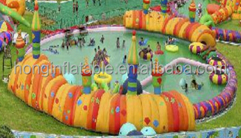 popular hot sale outdoor bouncia water park with 0.9mm PVC tarpaulin