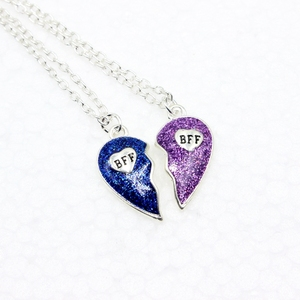 Hot Selling Promotional Kids Necklaces Bff Heart Necklace Separable Children Best Friends Necklaces