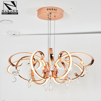 Home decor modern rose gold k9 crystal indian chandelier