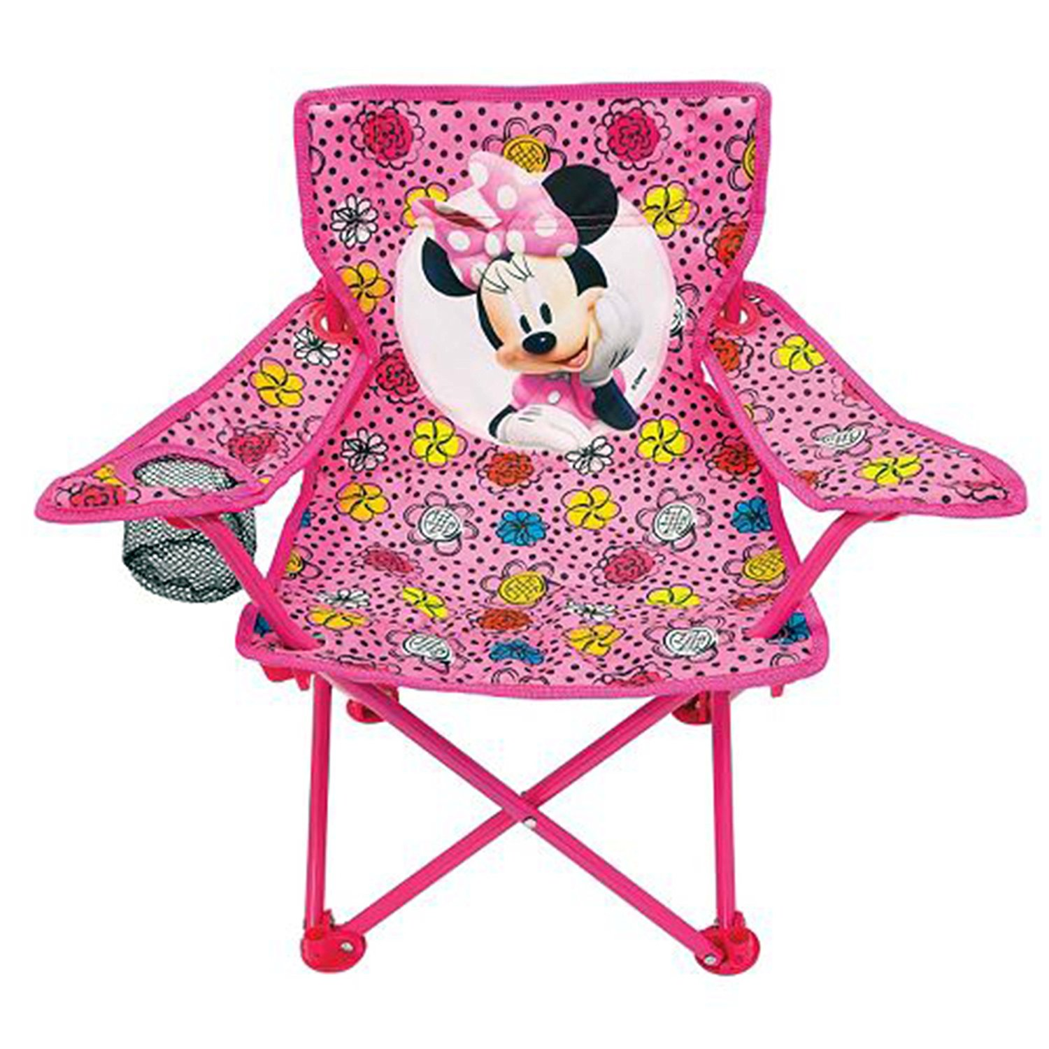 Disney's Minnie Mouse Fold N' Go Foldable Chair - Bright Pink With Flowers And Picture of Minnie Mouse