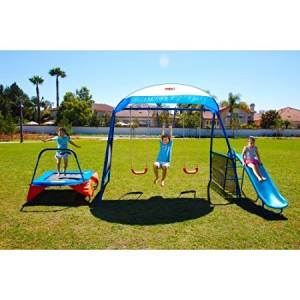 """IronKids Inspiration 250 Fitness Playground Metal Swing Set Outdoor Play with 42"""" Fitness Jumper trampoline"""