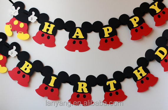 Mickey Mouse birthday decorations Mickey birthday banner