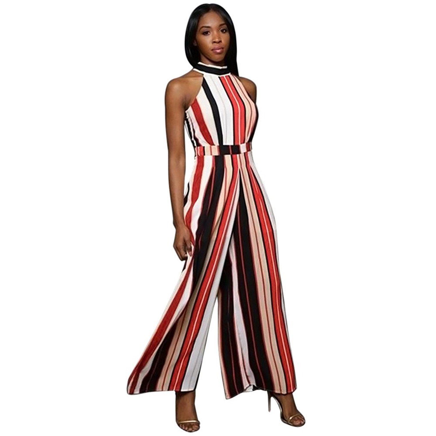 7f6b0d64d58 Get Quotations · COOKI Rompers and Jumpsuits for Women Ladies Elegant  Striped High Waist Wide Leg Long Pants Jumpsuits
