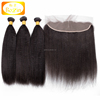 Kinky Straight Lace Frontal Closure with Bundles Brazilian Human Virgin Hair Straight 3 bundles with closure