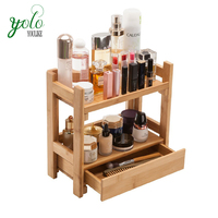 Bamboo Cosmetic Shelf with Drawer Handmade Wood Makeup Organizer Tabletop Storage