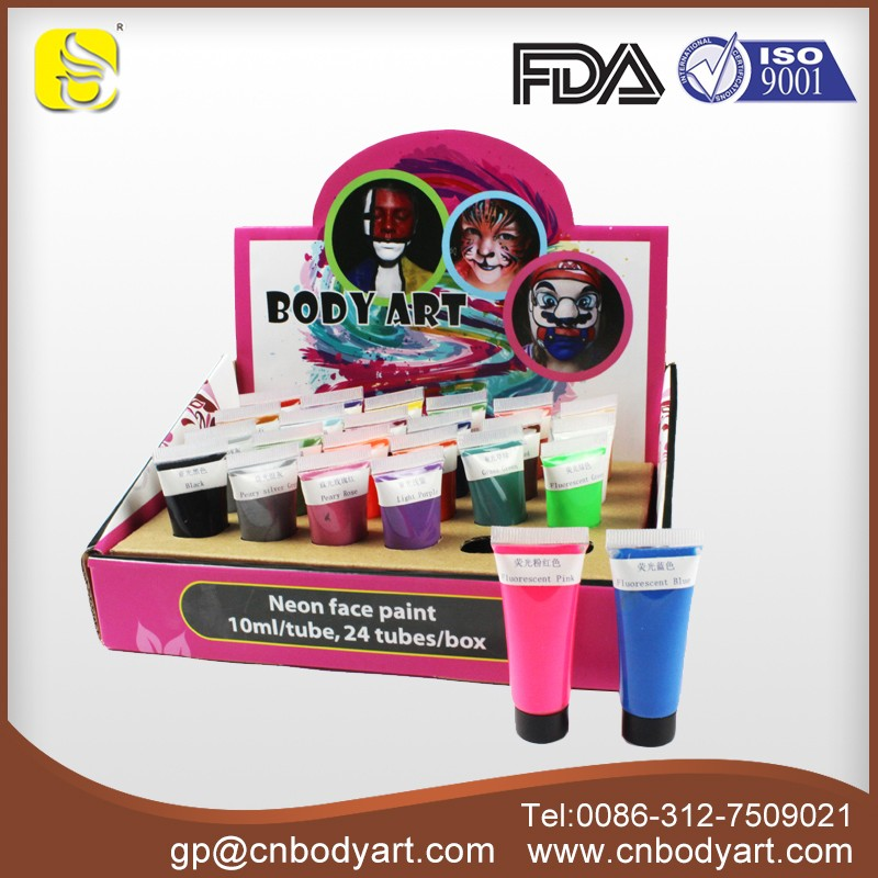 Show Box Party Use Washable Body Paints and Face Paints UV/Neon/Glowing in dark Body and Face paints