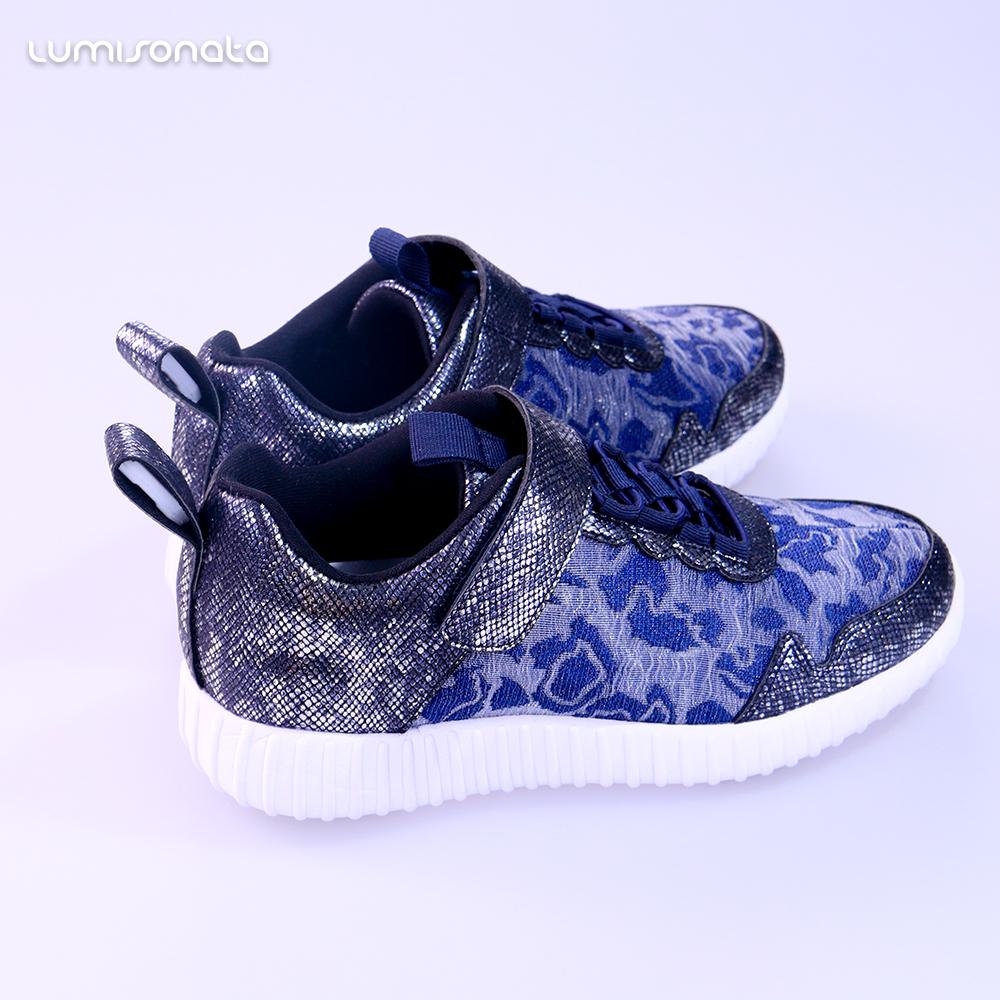 luminous Lace Blue Up Kid LED light USB up Shoes Sneaker Fashion qytfpH