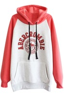 2016 Winter Patch Pocket Color Block Graphic Wholesale Two Tone Custom Printed Tall Hoodies for women