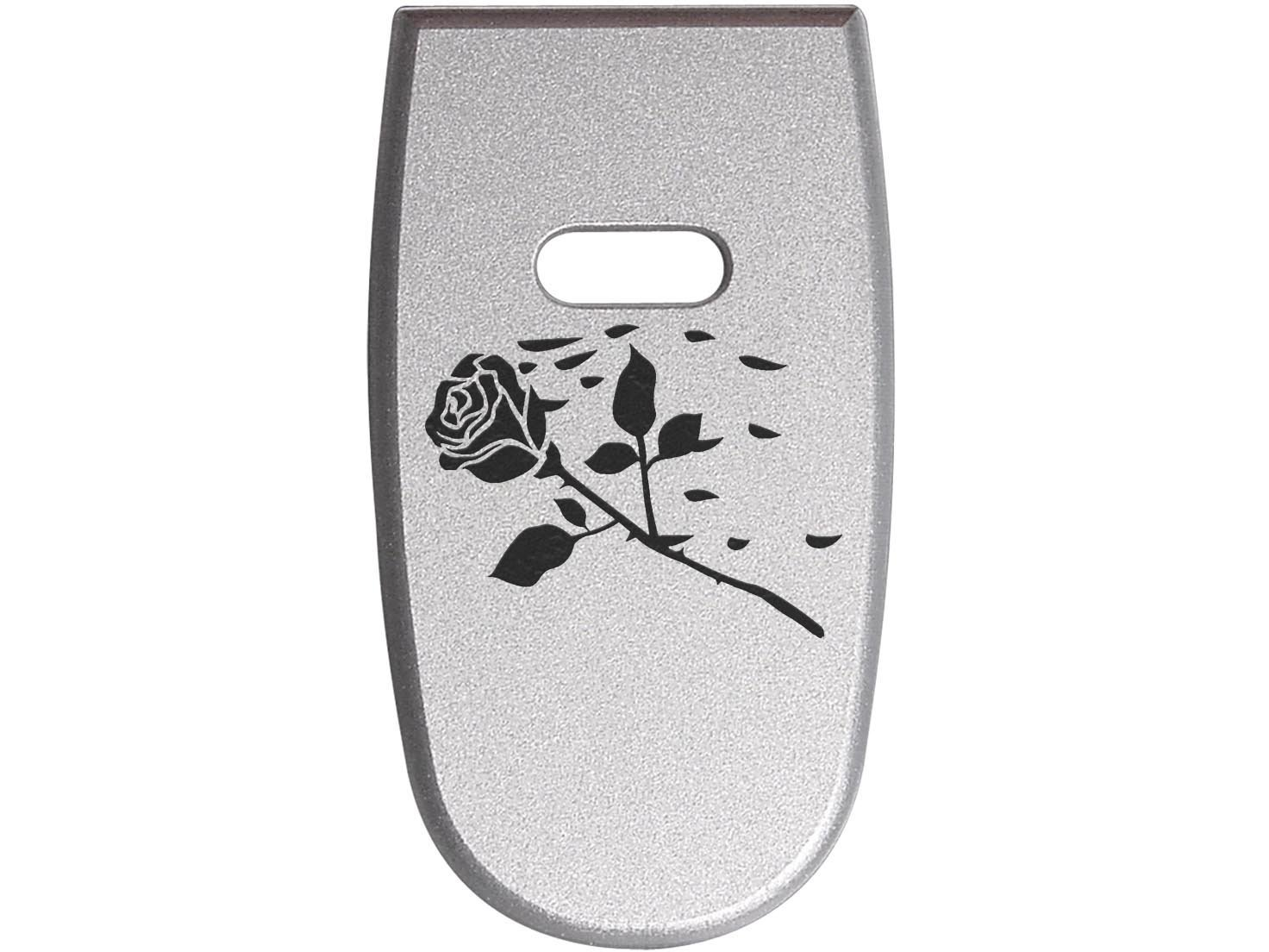 for S&W M&P Shield .45 Aluminum Floor Base Plate Silver Custom Laser Engraved: Rose Swoosh Petals By NDZ Performance