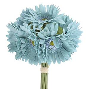 Factory Direct Craft® 6 Stemmed Artificial Colorful Teal Gerbera Daisy Bouquet for Centerpieces, Designing and Displaying