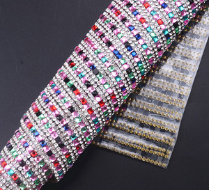 24x40cm mutil color glass crystal square 4x4mm iron on rhinestone sheet for shoe