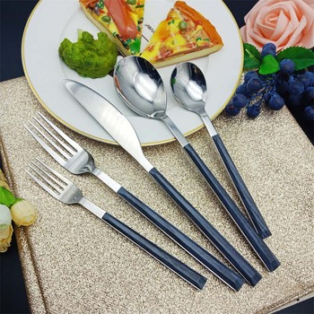 Amazon top seller gift box home and garden stainless steel wooden texture plastic handle silverware cutlery dinner flatware sets