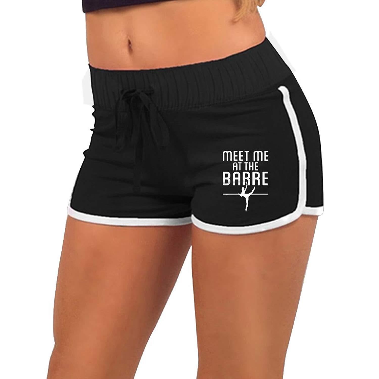 KENYYIOP Meet Me at The Barre Womens Yoga Shorts,Workout Shorts,Summer Pants,Running Shorts,Drawstring Waist Running Shorts