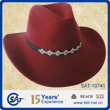100% Wool Felt Red Cowgirl Hats a3489384cf6