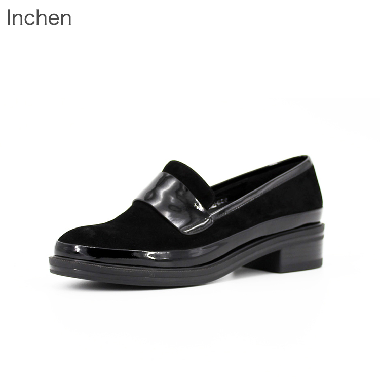 Genuine leather women shoes Kid Suede thick <strong>heel</strong> comfortable black LOAFERS low <strong>heel</strong>