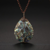 Abalone Shell Tree of Life Pendant Necklaces for Women