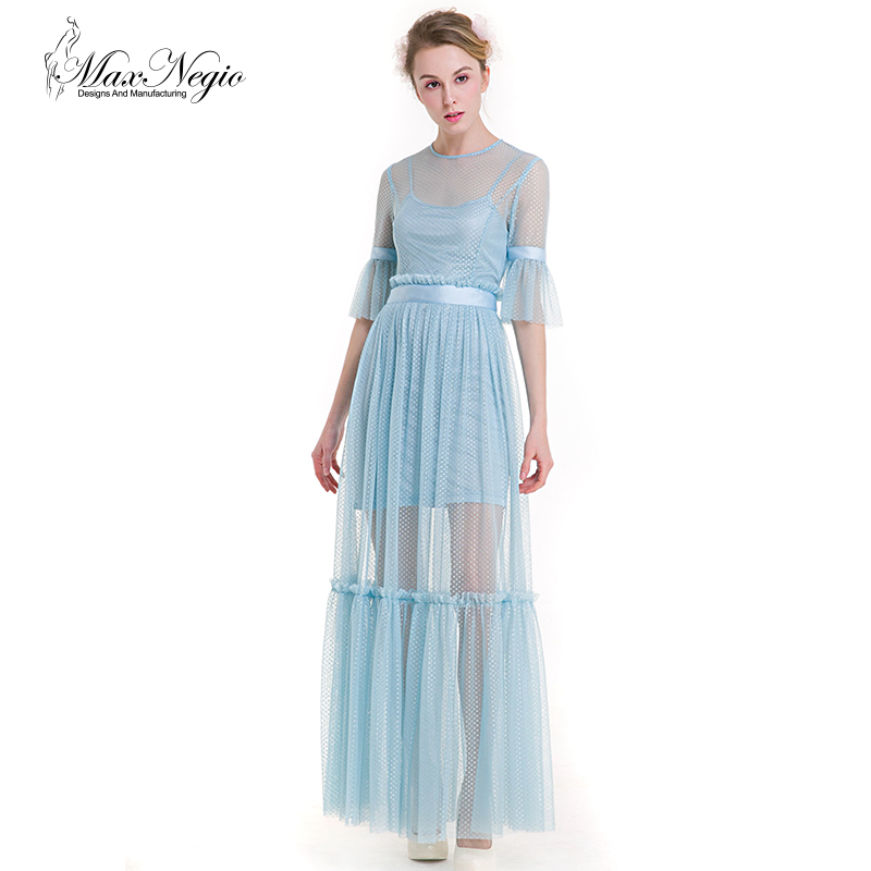 Maxnegio 2 piece maxi dress long sleeve women sexy party chiffon evening dresses