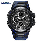 Complete Calendar [ Watch Plastic ] Plasticplastic Waterproof Sport Watch Led Dual Display Plastic Watch 1708MC Smael Camouflage Blue Electronic Watch