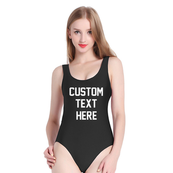 16 color Solid High Quality One Pieces Swimsuit 2019 Custom Text Swimwear Women Bathing Suit Letter Print Beach Sexy BLACK Bodys